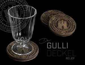 Glasuntersetzer mit Motiv HAMBURGER GULLIDECKEL, Relief