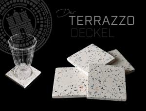 Glasuntersetzer in Terrazzo-Optik DER TERRAZZODECKEL