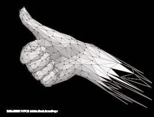 """3D-Scan und Vektorisierung Hand Low Poly """"DAUMEN HOCH"""""""